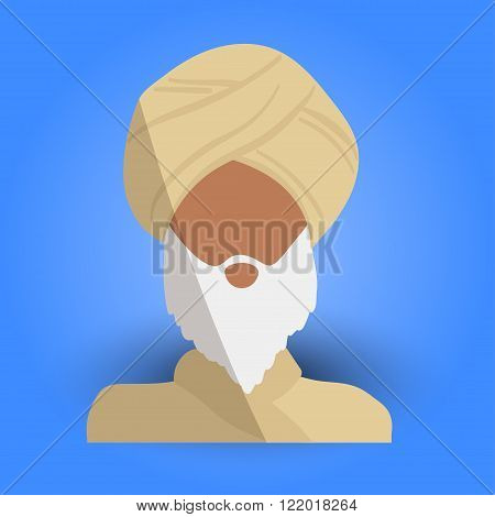 Cool and Artistic Avatar in Flat Design with an Arab Old Man White Beard and Traditional Religious Ethnic Clothes for Business App and Web Design