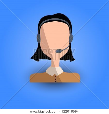 Cool and Artistic Avatar in Flat Design with Caucasian or Asian Brunette Young Business Woman and Headphones for Business App and Web Design