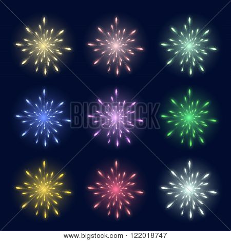 Set of multi-colored festival fireworks against a dark background for use in your design.