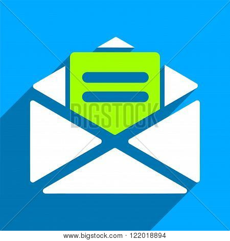 Open Mail long shadow vector icon. Style is a flat open mail iconic symbol on a blue square background.