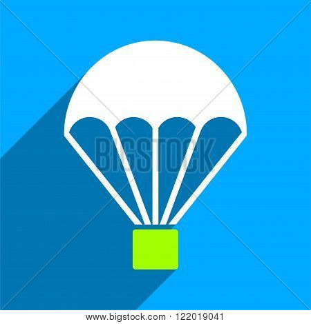 Parachute long shadow vector icon. Style is a flat parachute iconic symbol on a blue square background.