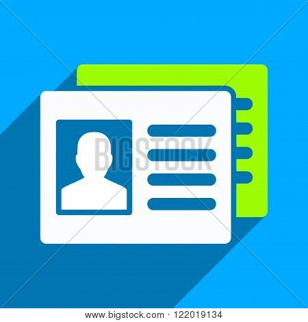 Patient Accounts long shadow vector icon. Style is a flat patient accounts iconic symbol on a blue square background.