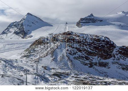 Ski slopes near matterhorn peak, Alps,  Canton of Valais, Switzerland