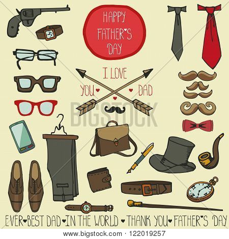 Doodle vector.Fathers day decor vintage elements set.Retro male  collection .Hand drawing mustaches, bow tie, eyeglasses, watches, boots, pants, accessories.Fashion   design template