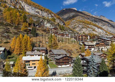 wooden house in Zermatt Resort, Canton of Valais, Switzerland
