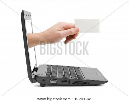 Hand with blank card and notebook