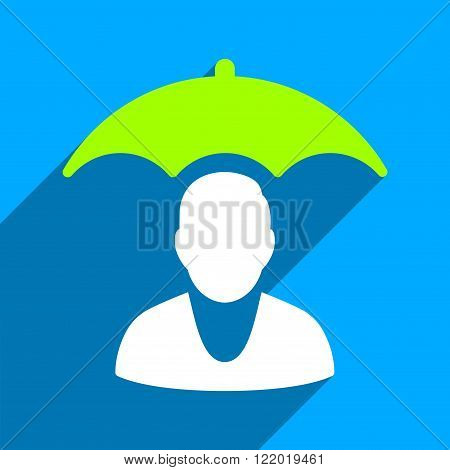 Personal Insurance Protection long shadow vector icon. Style is a flat personal insurance protection iconic symbol on a blue square background.