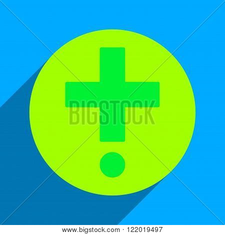 Pharmacy long shadow vector icon. Style is a flat pharmacy iconic symbol on a blue square background.