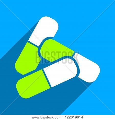 Pills long shadow vector icon. Style is a flat pills iconic symbol on a blue square background.