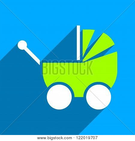 Pram long shadow vector icon. Style is a flat pram iconic symbol on a blue square background.