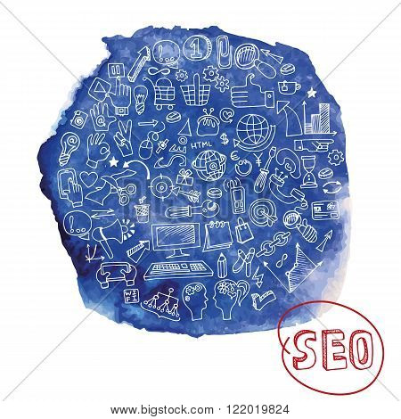 Doodle hand drawing  sketchy seo  icons composition in watercolor blue stein background.Business concept . Vector illustration