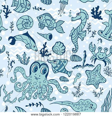 Doodle Sea life fish, animals seamless pattern, background.Funny cartoon doodle underwater world. Baby hand drawing Vector. Summer travel, tropical backdrop, wallpaper, fabric ornament.