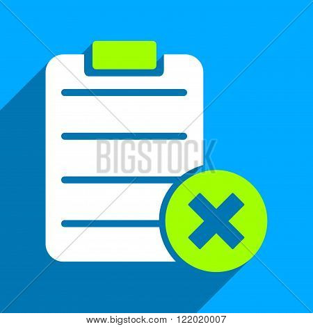 Reject Form long shadow vector icon. Style is a flat reject form iconic symbol on a blue square background.