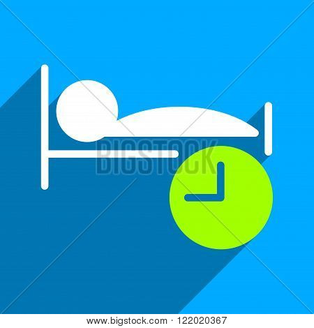 Sleep Time long shadow vector icon. Style is a flat sleep time iconic symbol on a blue square background.