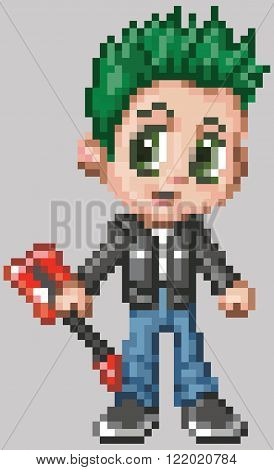 Cartoon clip art illustration of a punk rocker boy in an anime or manga style rendered as pixel art (in vector art blocks). Each pixel block is editable.