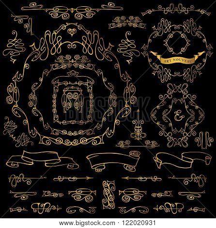 Royal Vector Design Elements.Calligraphic curves Gold Frames, Borders, ribbons, Swirls dviders.Wedding  invitation, save date, Valentine card, restaurant menu.Art Nouveau style.Linear vintage illustration