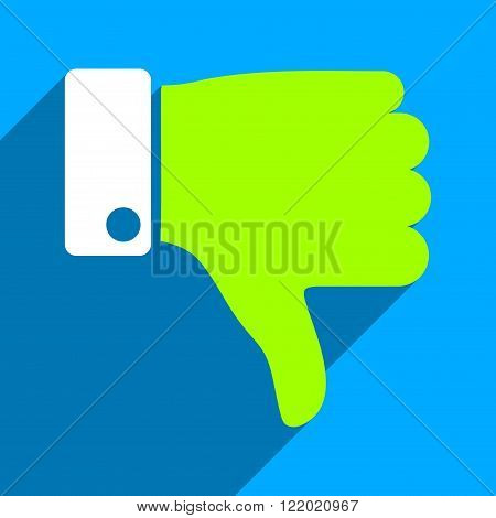 Thumb Down long shadow vector icon. Style is a flat thumb down iconic symbol on a blue square background.