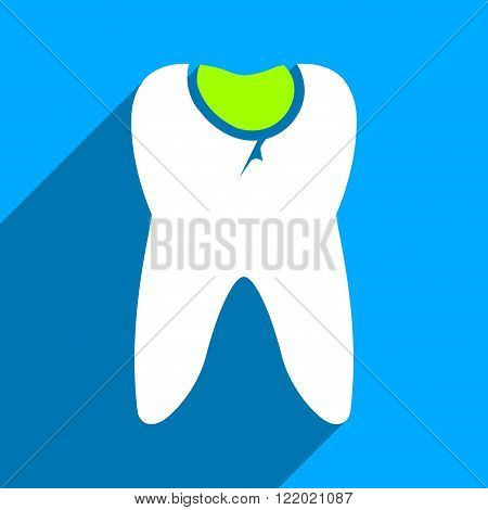 Tooth Caries long shadow vector icon. Style is a flat tooth caries iconic symbol on a blue square background.