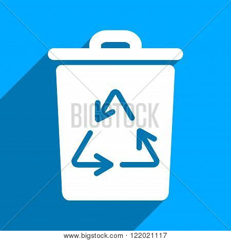 Trash Can long shadow vector icon. Style is a flat trash can iconic symbol on a blue square background.
