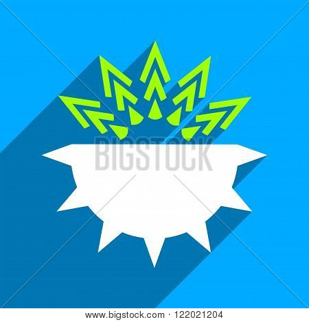 Viral Structure long shadow vector icon. Style is a flat viral structure iconic symbol on a blue square background.