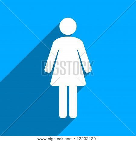 Woman WC long shadow vector icon. Style is a flat woman wc iconic symbol on a blue square background.