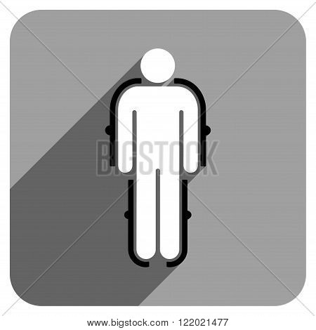 Exoskeleton long shadow vector icon. Style is a flat exoskeleton iconic symbol on a gray square background.