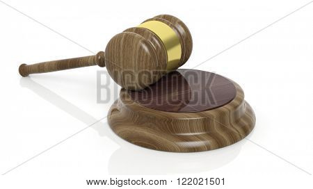 Wooden court hammer on white background