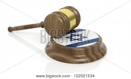 Court hammer with Jewish national flag on white background