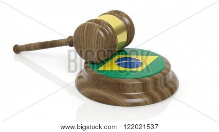 Court hammer with flag of Brazil on white background