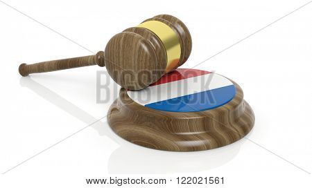 Court hammer with flag of Luxembourg on white background