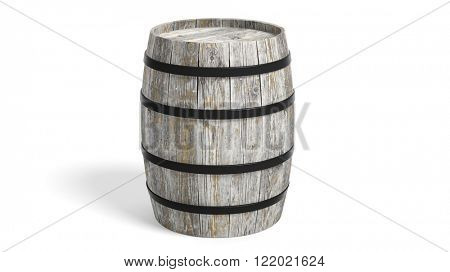 Grey wooden barrel casting shadow on white background