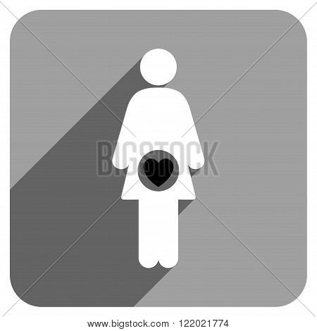 Fertility long shadow vector icon. Style is a flat fertility iconic symbol on a gray square background.