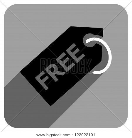 Free Tag long shadow vector icon. Style is a flat free tag iconic symbol on a gray square background.
