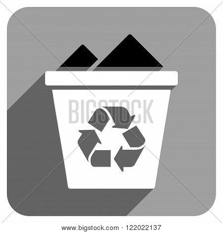 Full Recycle Bin long shadow vector icon. Style is a flat full recycle bin iconic symbol on a gray square background.