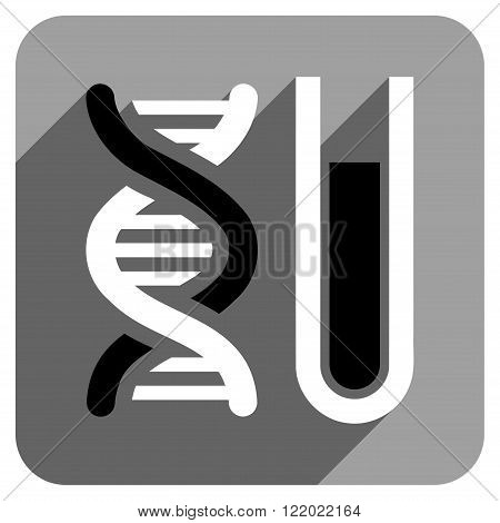 Genetic Analysis long shadow vector icon. Style is a flat genetic analysis iconic symbol on a gray square background.