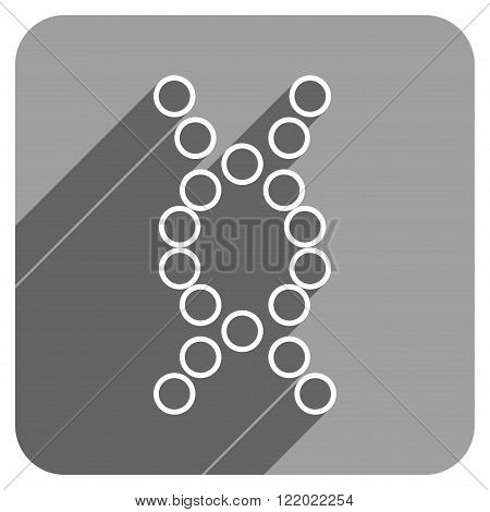 Genome long shadow vector icon. Style is a flat genome iconic symbol on a gray square background.
