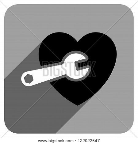 Heart Surgery long shadow vector icon. Style is a flat heart surgery iconic symbol on a gray square background.