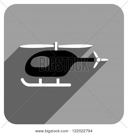 Helicopter long shadow vector icon. Style is a flat helicopter iconic symbol on a gray square background.