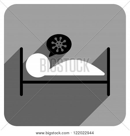 Infected Patient Bed long shadow vector icon. Style is a flat infected patient bed iconic symbol on a gray square background.