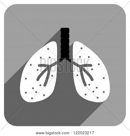 Lungs long shadow vector icon. Style is a flat lungs iconic symbol on a gray square background.