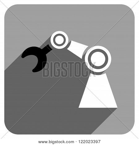 Manipulator long shadow vector icon. Style is a flat manipulator iconic symbol on a gray square background.