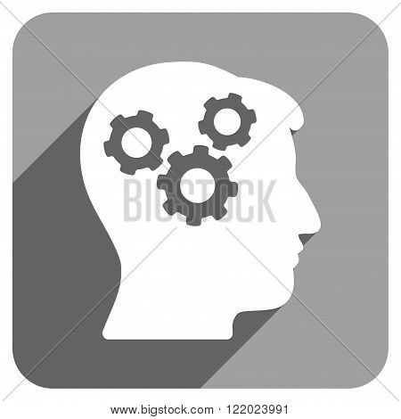Mind long shadow vector icon. Style is a flat mind iconic symbol on a gray square background.
