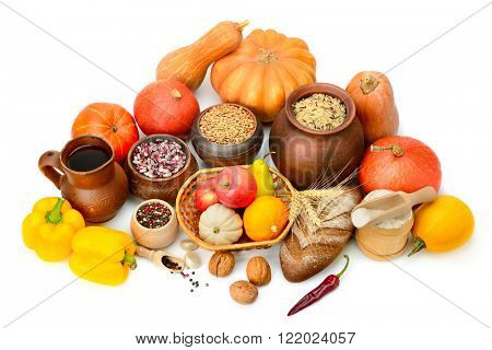 Collection of food isolated white