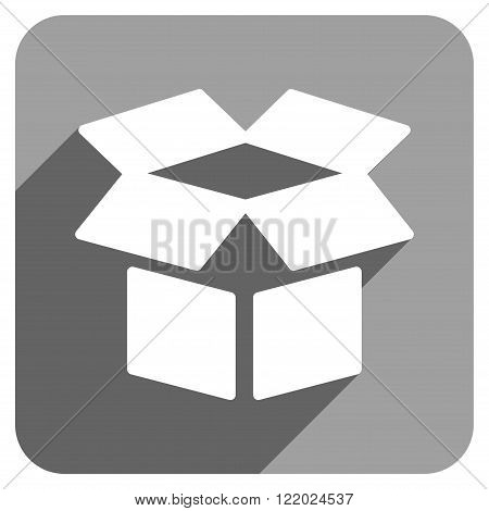 Open Box long shadow vector icon. Style is a flat open box iconic symbol on a gray square background.