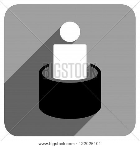Patient Isolation long shadow vector icon. Style is a flat patient isolation iconic symbol on a gray square background.