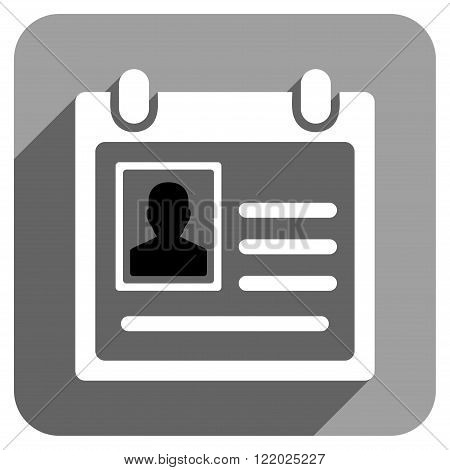 Personal Badge long shadow vector icon. Style is a flat personal badge iconic symbol on a gray square background.