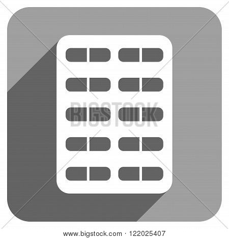 Pill Blister long shadow vector icon. Style is a flat pill blister iconic symbol on a gray square background.