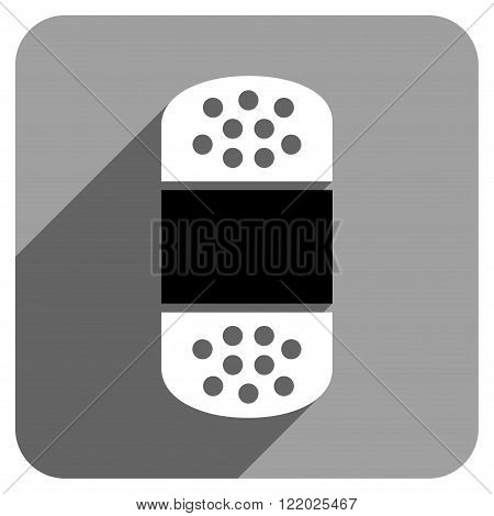 Plaster long shadow vector icon. Style is a flat plaster iconic symbol on a gray square background.