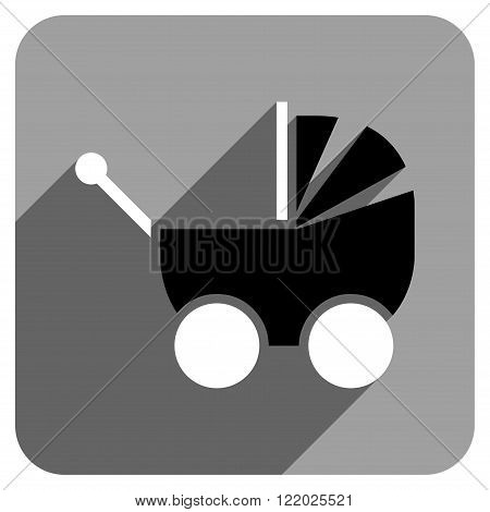 Pram long shadow vector icon. Style is a flat pram iconic symbol on a gray square background.