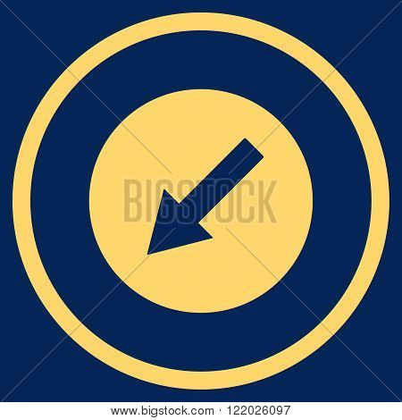 Down-Left Rounded Arrow vector icon. Style is flat rounded iconic symbol, down-left rounded arrow icon is drawn with yellow color on a blue background.